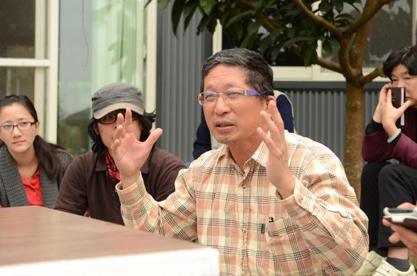 新故鄉文教基金會董事長廖嘉展對埔里青年有更多期許。(柏原祥攝)