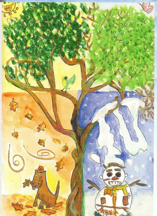 清境山區四季分明,楊家三姊弟用一棵樹說明了季節的變化。(柏原祥翻攝)