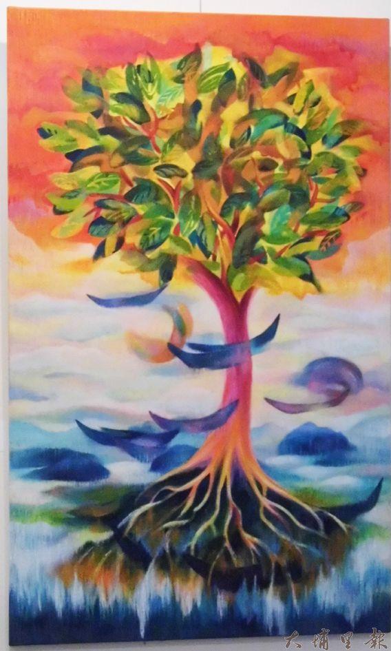 石鈴表示,這幅畫是她遊訪不丹、印度回來感受反思的創作。(石鈴繪/張庭芳後製)