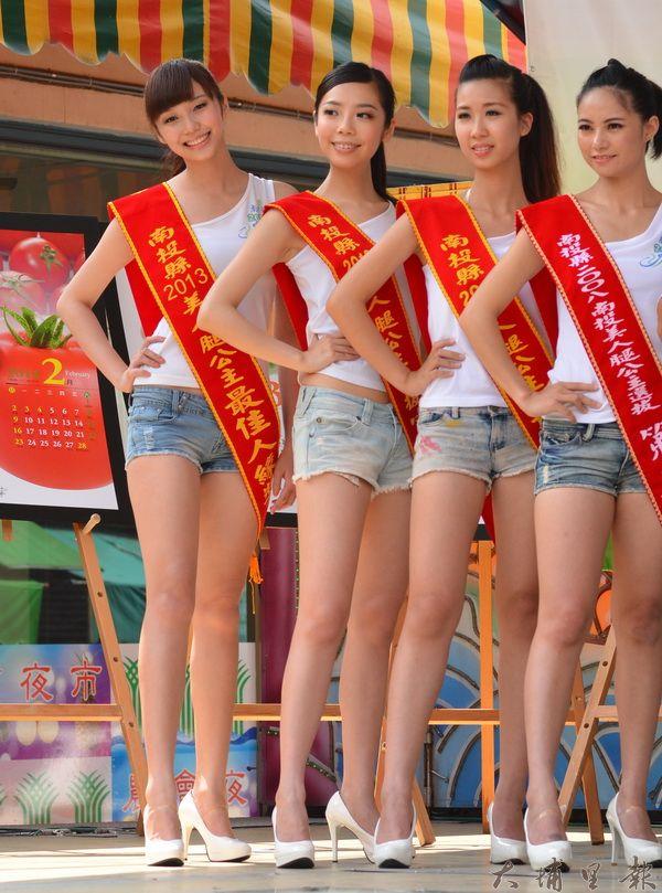 美人腿公主秀出美腿,代言埔里茭白筍。(柏原祥攝)
