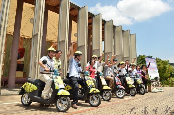 桃米電動自行車啟動,友善環境,串連桃米社區各個景點。(柏原祥攝)