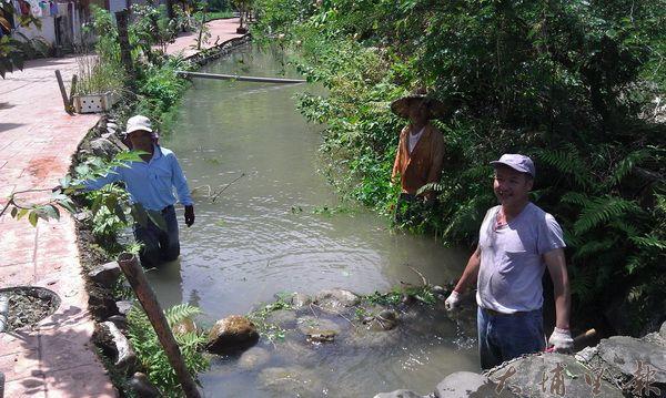 水頭社區居民清理鳳雛生態溪流。(黃敬婷攝)