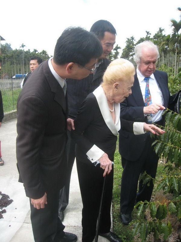 國際精品咖啡教母娥娜.努森在魚池鄉長陳錦倫陪同下參觀余芳霞女士的咖啡樹產地。(何其慧攝)