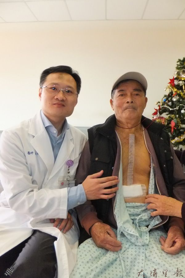 梁老先生的手術傷口超過30公分,惟術後狀況良好。(唐茹蘋攝)