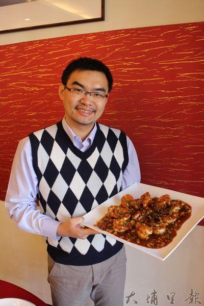 埔里多山產,鮮有海味,蔡記特意推出〈乾燒鮮海蝦〉,肉質鮮美多汁的大海蝦,讓人直呼過癮。(林子婷攝)