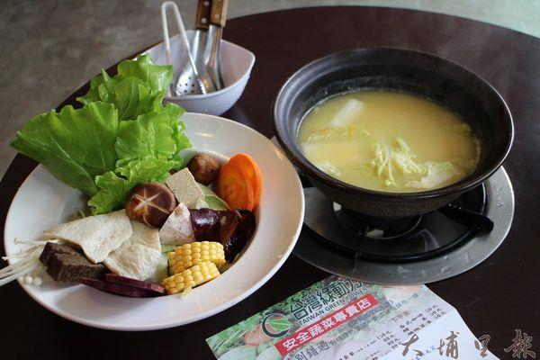 光之悅樂活館嚴選食材,火鍋料理沒有半分冷凍食材,全是新鮮蔬食。(林子婷攝)