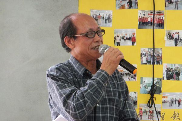 62歲的劉明亮代表學員發言感謝。(唐茹蘋攝)