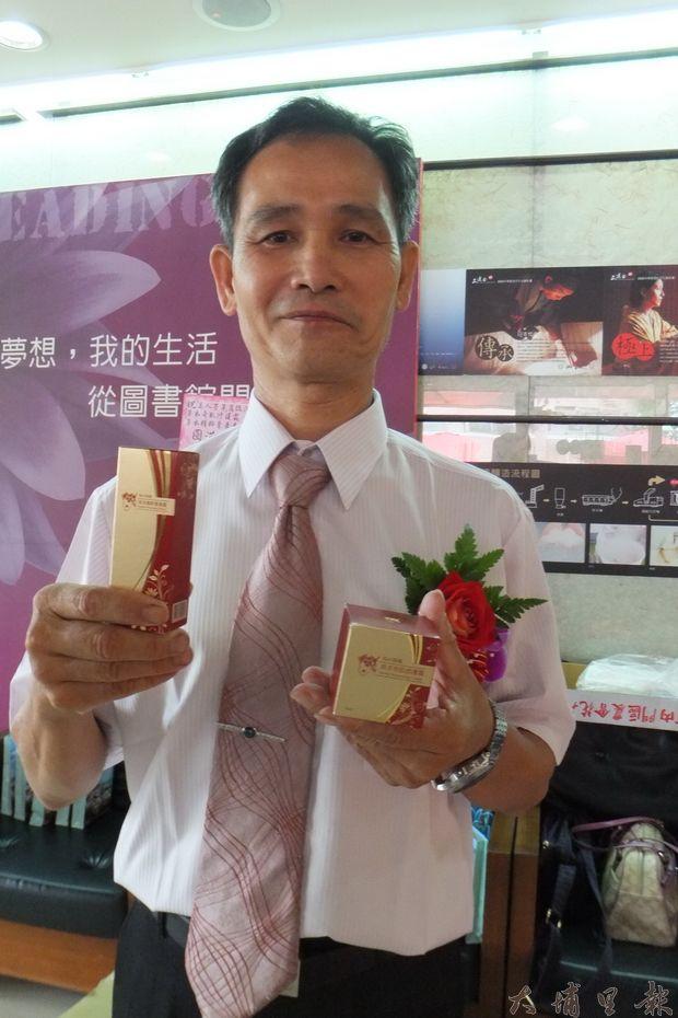 鵝爸蔡培津推出研發的草本保養品。(唐茹蘋攝)