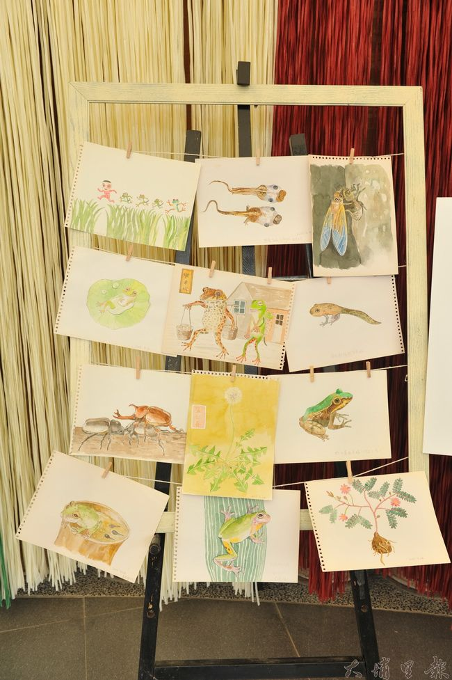 吳衍震在桃米社區駐村,創作多樣的生態圖文。(柏原祥攝)