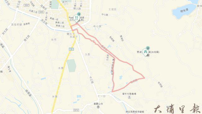 埔里鎮低碳輕旅行短程環形路線圖。(圖/擷取自googlemap)