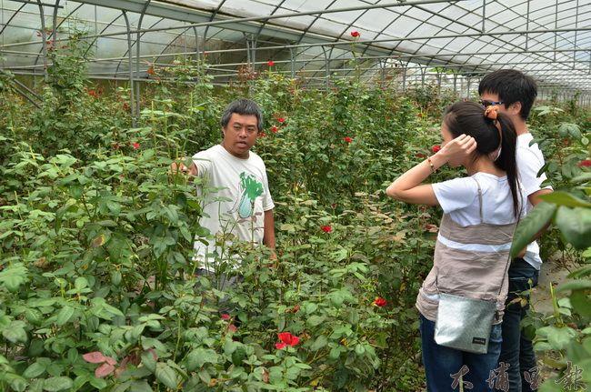 內埔農業區農民章思廣(左)向遊客解說食用玫瑰辛苦的種植過程,他強調農地的價值不是只有鈔票的「產值」。(柏原祥攝)