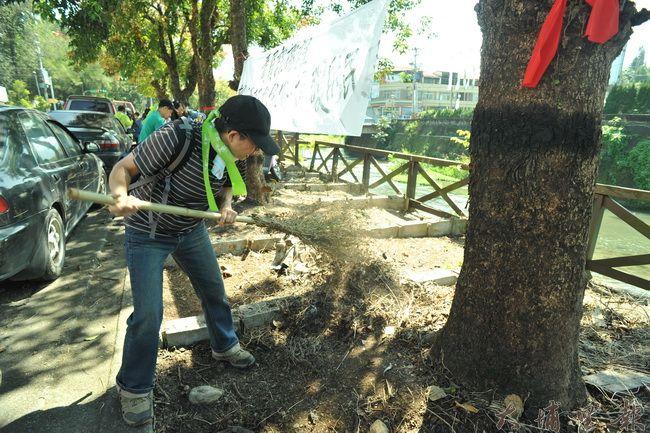 鎮民陳金碖在護樹大遊行活動後並未立即離開現場,而是拿起竹掃帚打掃茄苳樹下的環境。(柏原祥攝)