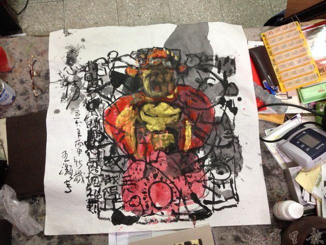 埔里鎮知名詩人、書畫家王灝過世,他身前最後一幅畫作表達鬱悶的心情。(柏原祥攝)
