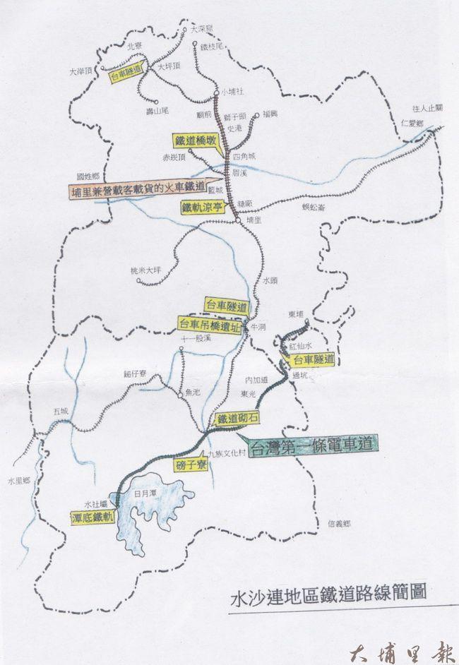 水沙連地區鐵道路線簡圖,黃色標示部分有遺跡留存。(潘樵提供)