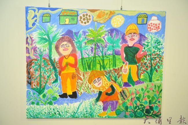 童年至青壯年時期的田園農忙情景,是多位阿嬤喜歡的主題。(柏原祥翻攝)