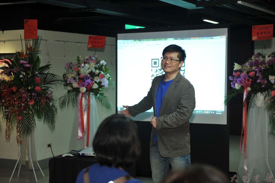 陳震閎說明辦弟弟器捐十週年紀念展的理由,語氣中充滿著不捨。(柏原祥攝)
