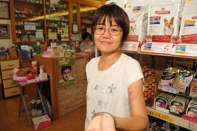 在埔里開設寵物用品、美容店的曾雅萍左手臂被客人的黑貴賓咬傷,她無奈的說,這在業界是常態。(柏原祥 攝)