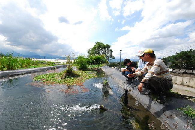 陳新豪老師到農友的耕地,檢測灌溉用水的水質。(金城嚴 攝)
