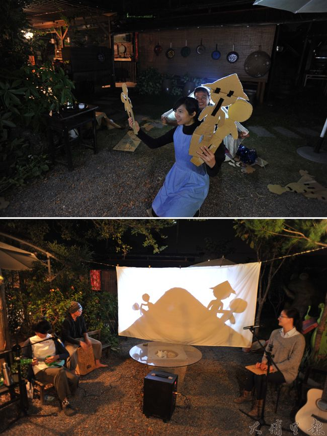 阿嫁婆人與土地的故事以剪影劇場呈現,簡單的紙板素材,在布幕前呈現寬廣的想像空間。(柏原祥 攝)