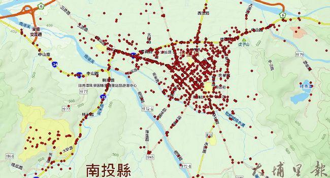 從暨大管理學院博士班研究生楊馥瑜分析的資料,可找出埔里車禍熱門時段的熱點。(柏原祥 攝)