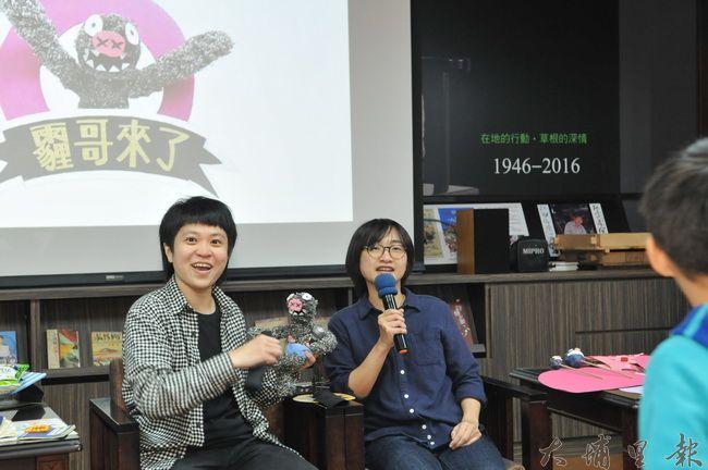 《霾哥來了》動畫首映,導言魏閤廷(右)、美術師吳豫潔(左)回答觀眾的提問。(柏原祥 攝)