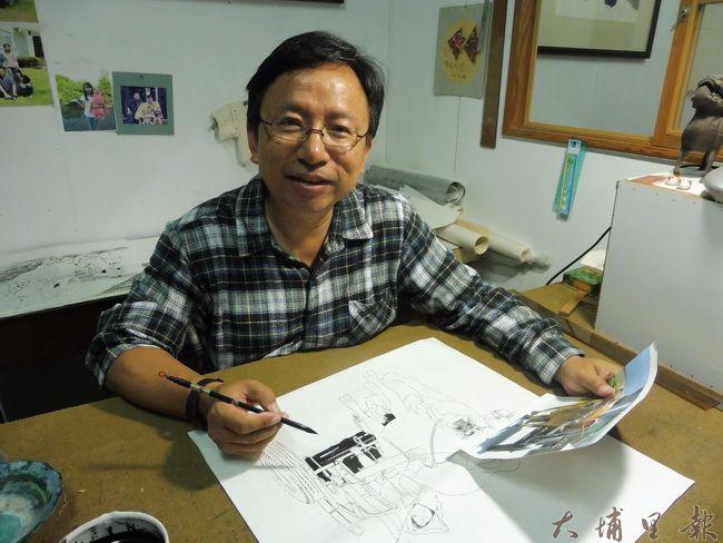 大埔里文史藝術工作者潘樵創作橫跨書畫、文史采風、生態寫作。