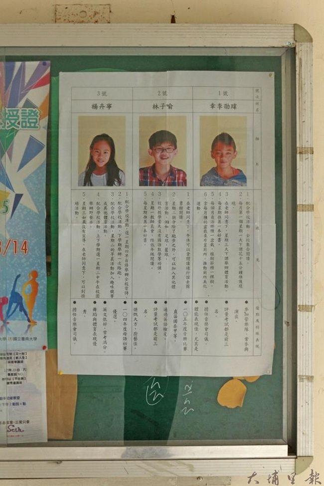 清境國小舉辦自治鄉長選舉,圖為候選人政見布告欄。(圖/校方提供)