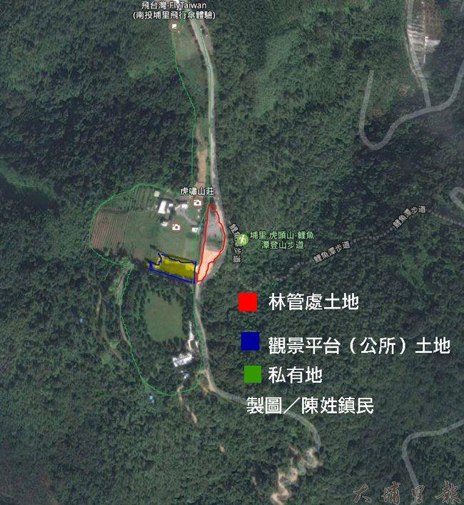 從衛星圖可以看見,林管處種樹苗的林班地正好位於觀景平台鎮公所土地出入口,綠色標線部分則為私有地。(製圖/陳姓鎮民)