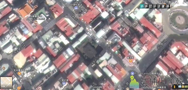 埔里鎮舊台電營運所(中間灰黑色方塊)已拆除,原地將規劃為停車場。(圖/擷取自google地圖)