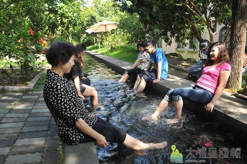 埔里鎮舊名「五港泉」的區域,地下泉水相當豐富,宏基蜜蜂生態農場的天然泡腳池即來自自然湧泉。(柏原祥 攝)