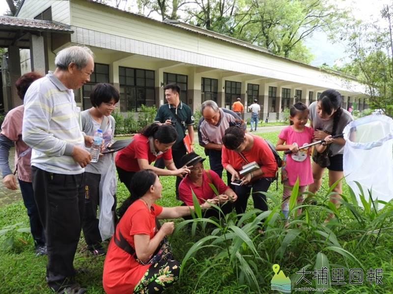 麒麟社區居民參與校園生態調查。(邱美蘭 /攝)