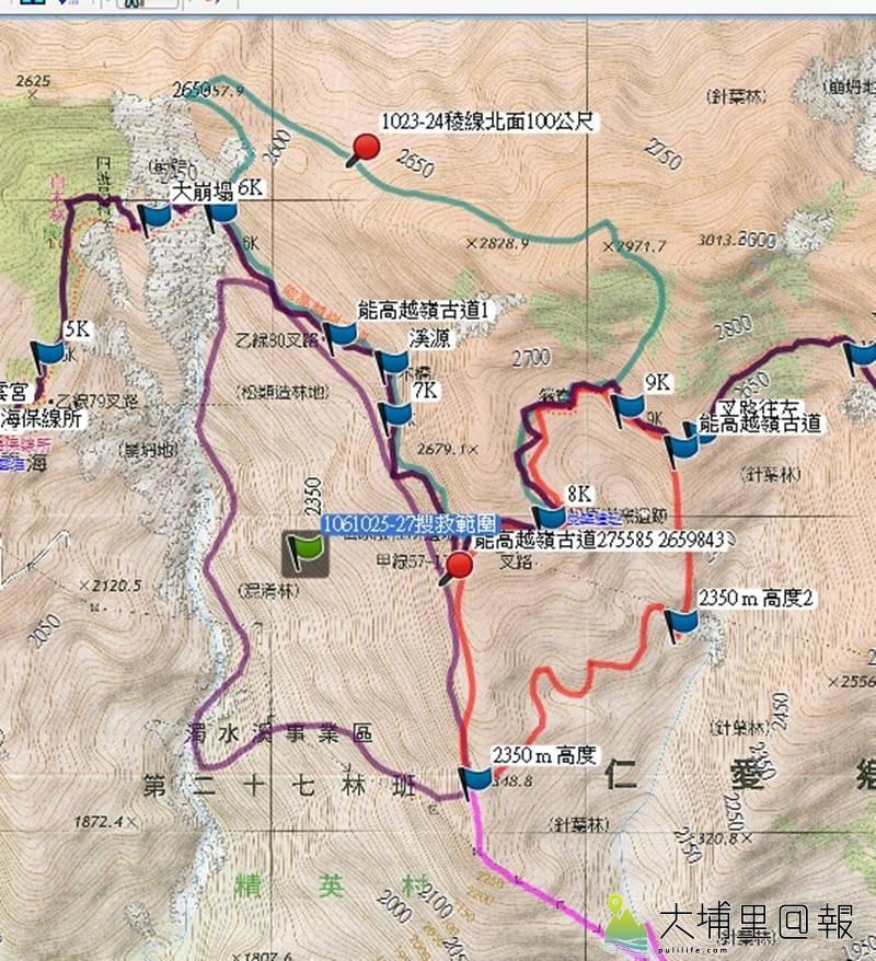 搜救能高越嶺失蹤登山客黃致遠的搜救範圍示意圖。(圖/南投縣消防局提供)