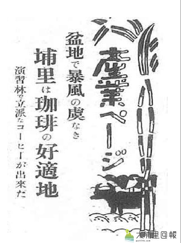 1931年12月14日台灣日日新報產業版便有專題報導,埔里盆地不用恐懼風暴,是適合種植咖啡的好所在。(圖/菅大志提供)