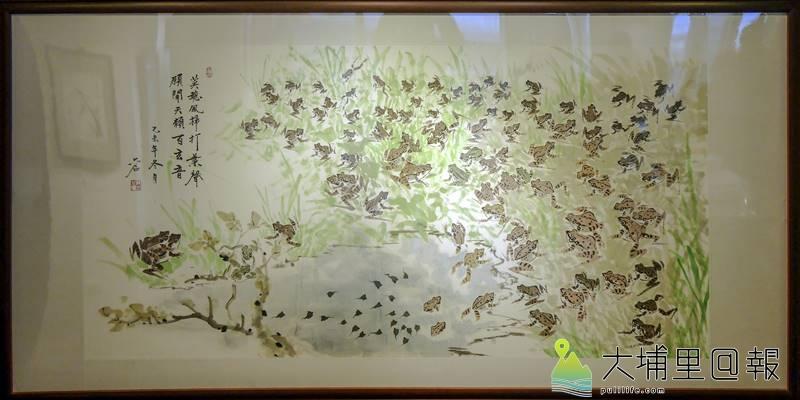 埔里畫家王六石生前作品《百蛙圖》。(圖/紙教堂提供)