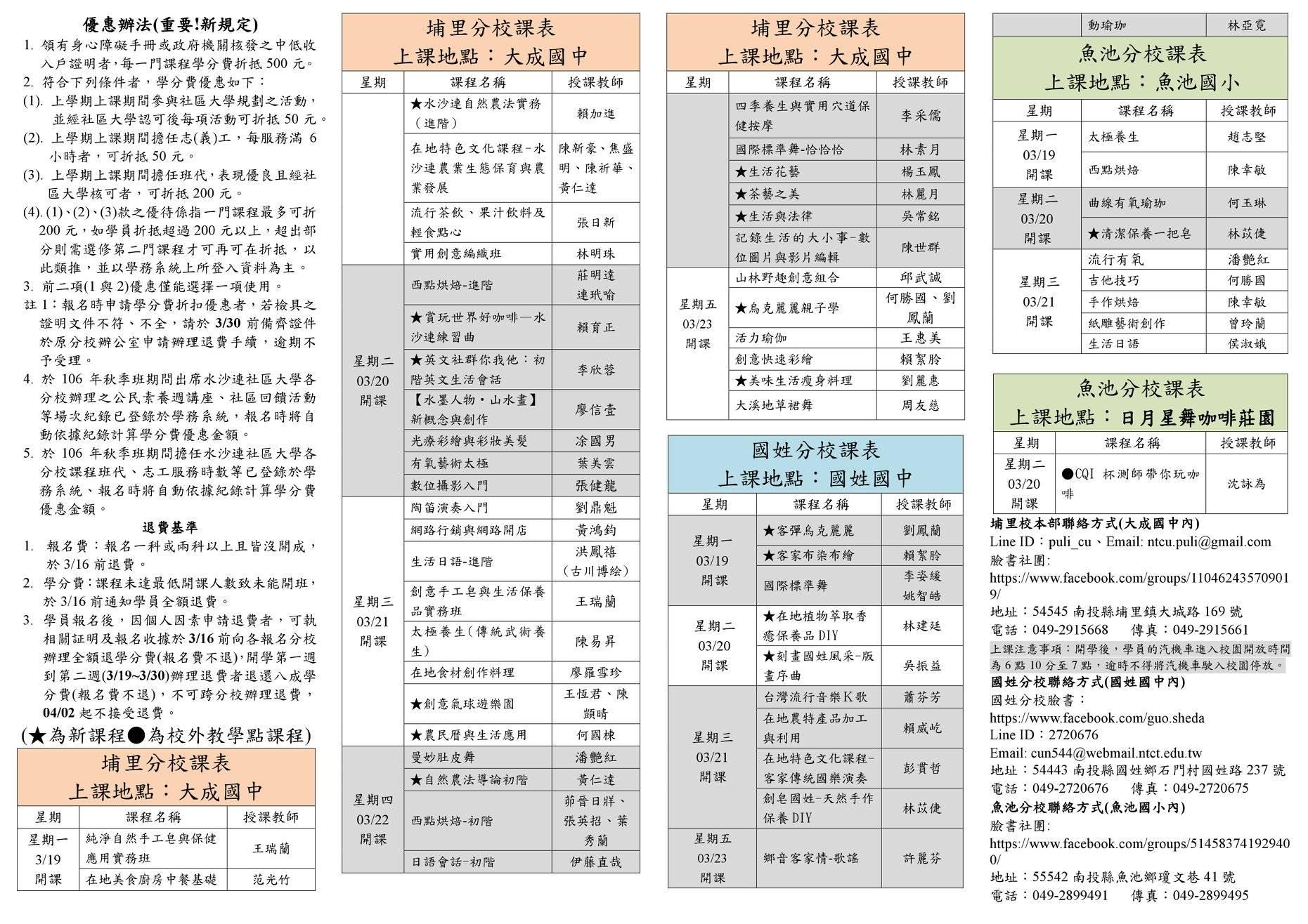 水沙連社區大學(埔里、國姓、魚池)107年春季班簡章第二頁