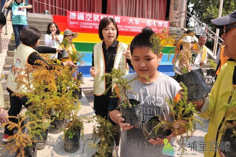 南投縣議員廖志城服務處免費贈送台灣杉樹苗,小朋友也來響應。(柏原祥 攝)
