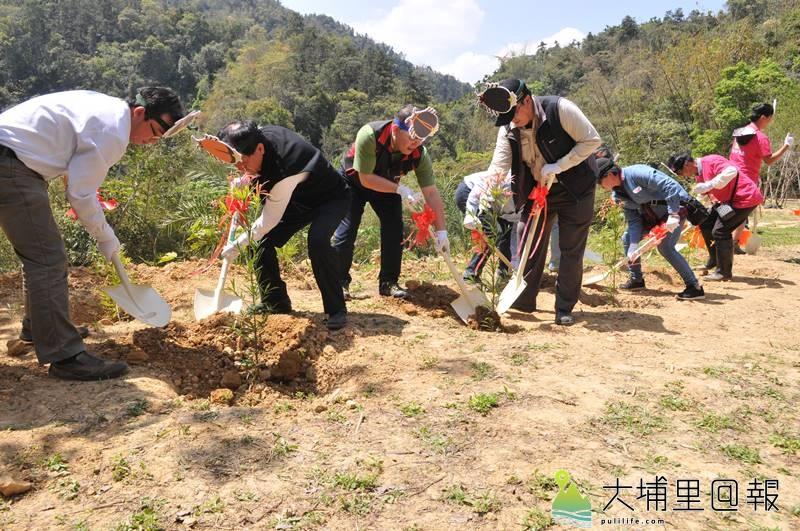 為了營造適宜螢火蟲生活的空間,日月潭國家風景區管理處、桃米休閒農業區推展協會志工一同來植樹。(柏原祥 攝)