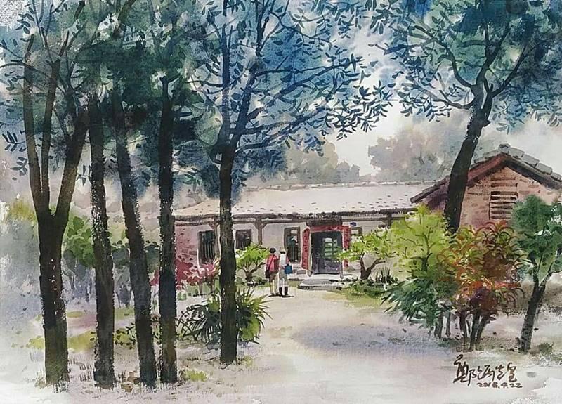 來自全台各地的藝術家至埔里林家古厝寫生,圖為鄭炳煌的水彩畫作。(林耀堂 提供)