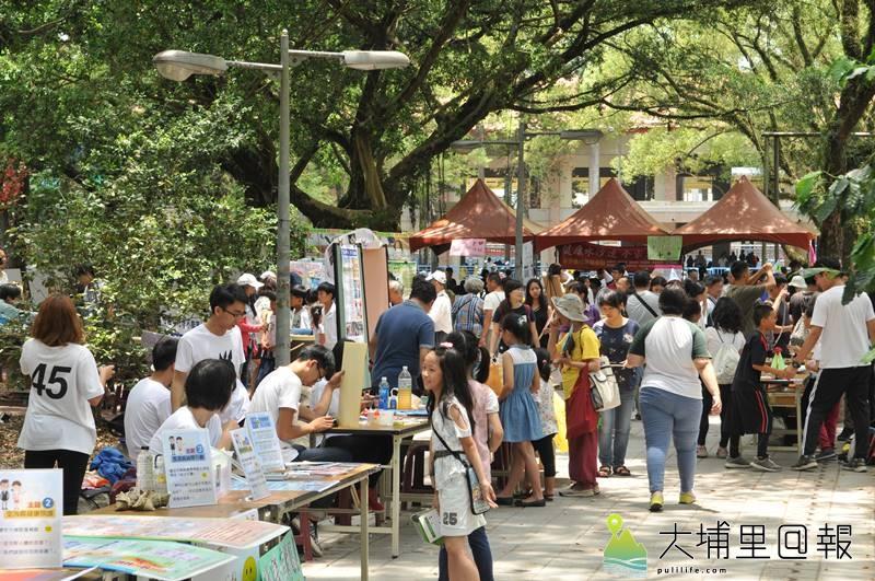 2018埔里生態城鎮日於啄木鳥步道舉辦,今年不僅辦理園遊會,還設計了行動記錄卡,讓友善環境與生活的力量持續。(柏原祥 攝)