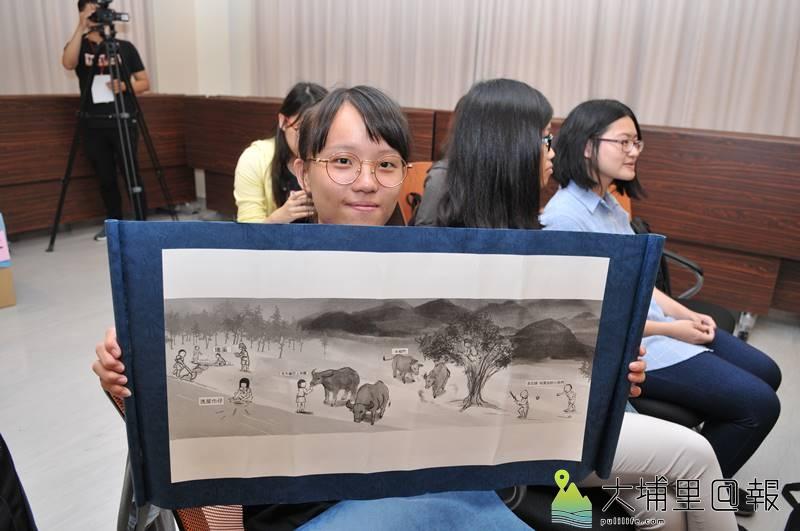 暨大同學以電腦繪圖,描述地名牛相觸的故事。(柏原祥 攝)
