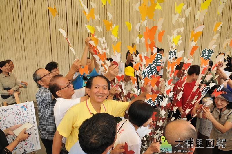 埔里鎮長候選人廖志城參與埔里蝴蝶森林公園宣示。(柏原祥 攝)