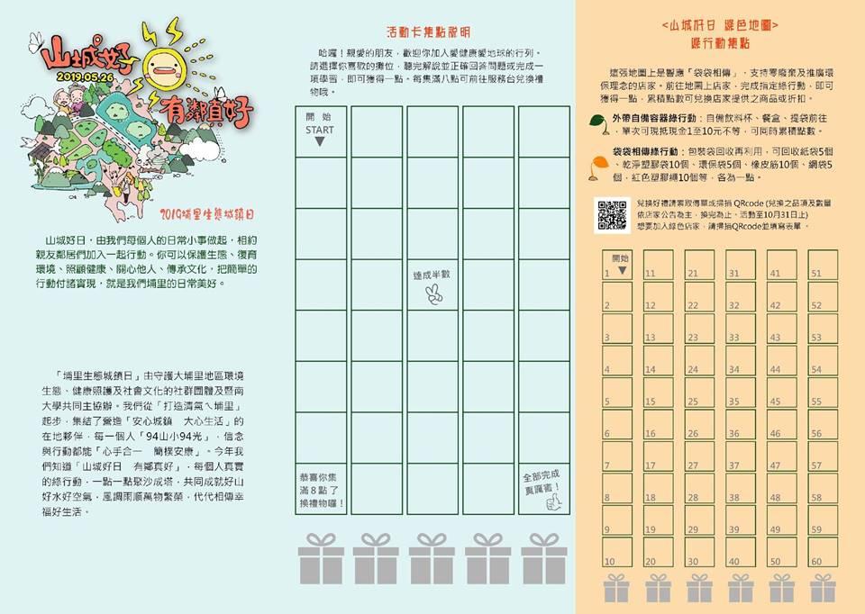 2019埔里生態城鎮日「山城好 有鄰真好」將在5月26日登場,並以綠色地圖結合店家集點優惠的方式,讓城鎮更美好的理念延續。(柏原祥 攝)