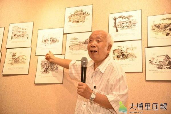 孫少英擔任南投藝術家資料館2019駐館藝術家,並展覽一系列九二一震災現場速寫。(柏原祥 攝)
