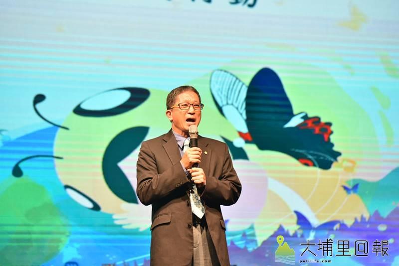 「讓愛轉動整個宇宙2019」新歌MV發表,新故鄉文教基金會董事長廖嘉展表示希望台灣人們跨越紛擾、走向共和。(柏原祥 攝)