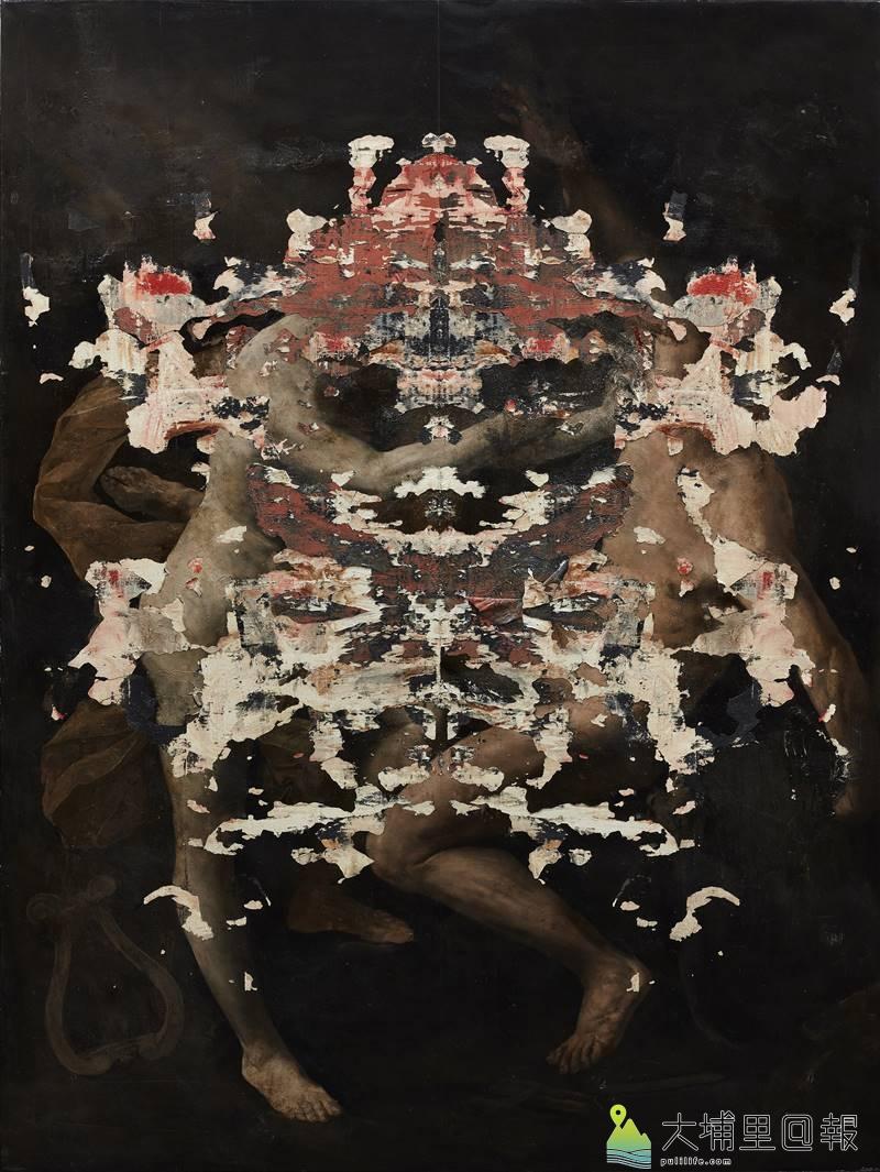 義大利的畫家尼古拉.薩莫利畫作〈寄生蟲之火〉_油彩、畫布_200x150公分_2016。(圖/毓繡美術館提供)