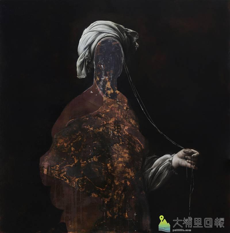 義大利的畫家尼古拉.薩莫利畫作線性成人(索丁娜)_油彩、銅板_100x100公分_2017。(圖/毓繡美術館提供)