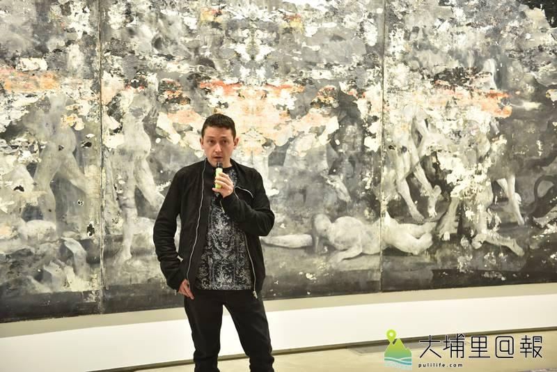 義大利畫家尼古拉.薩莫利解構古典大師畫作,作品在毓繡美術館展出。(圖/柏原祥攝)